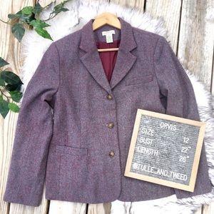 Orvis purple multi tweed blazer jacket wool blend